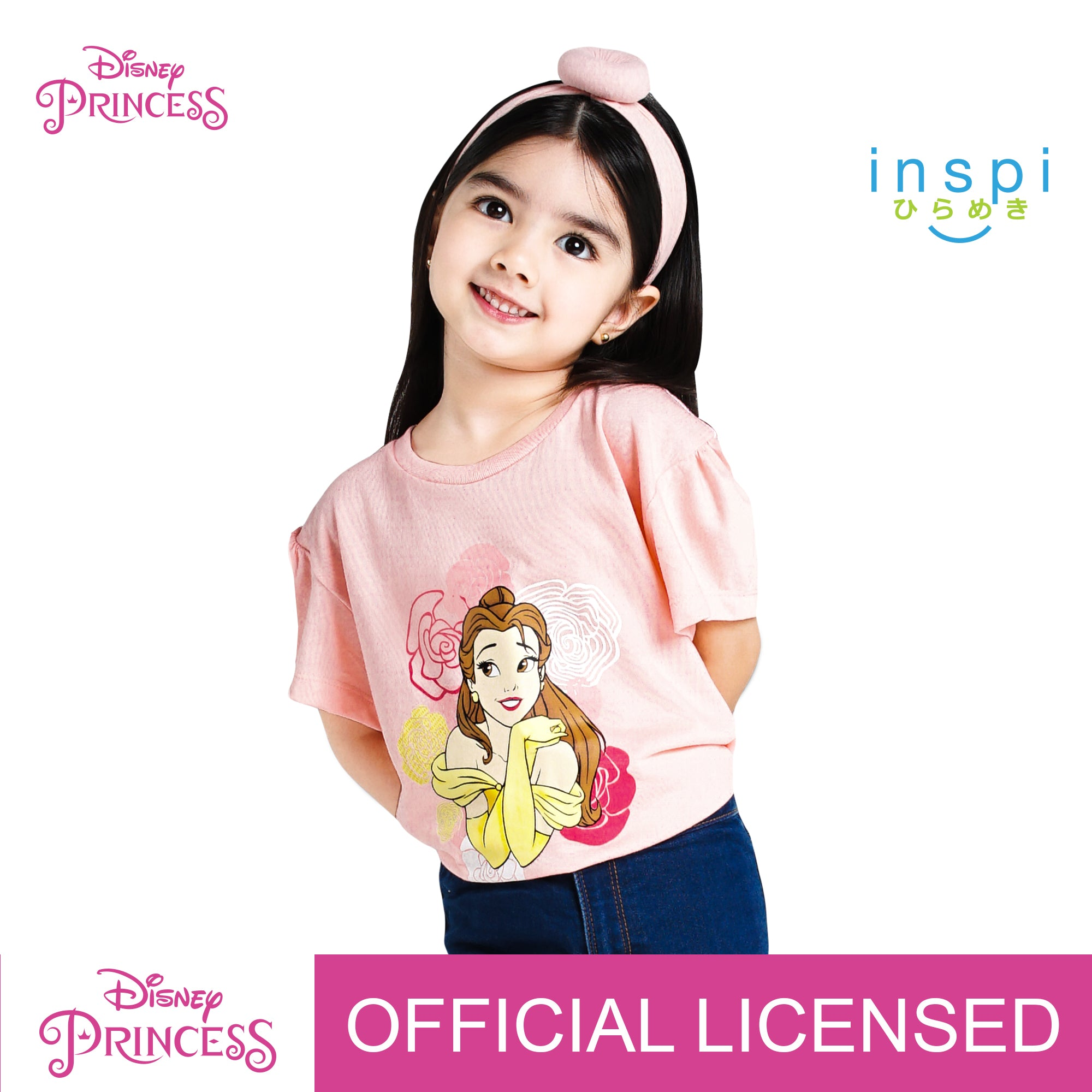 Disney Princess Belle in Roses Tshirt in Dairy Peach for Girls Inspi Shirt