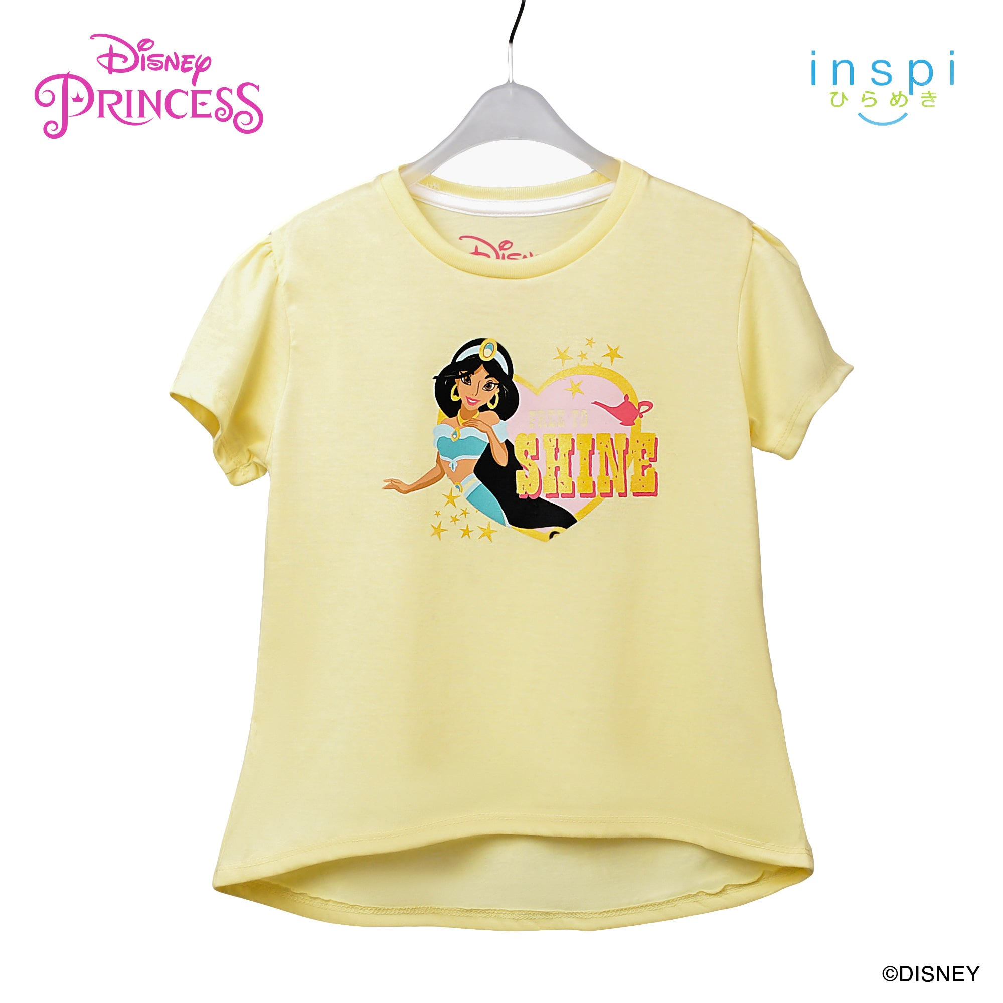 Disney Princess Jasmine Free to Shine Tshirt in Baby Yellow for Girls Inspi Shirt