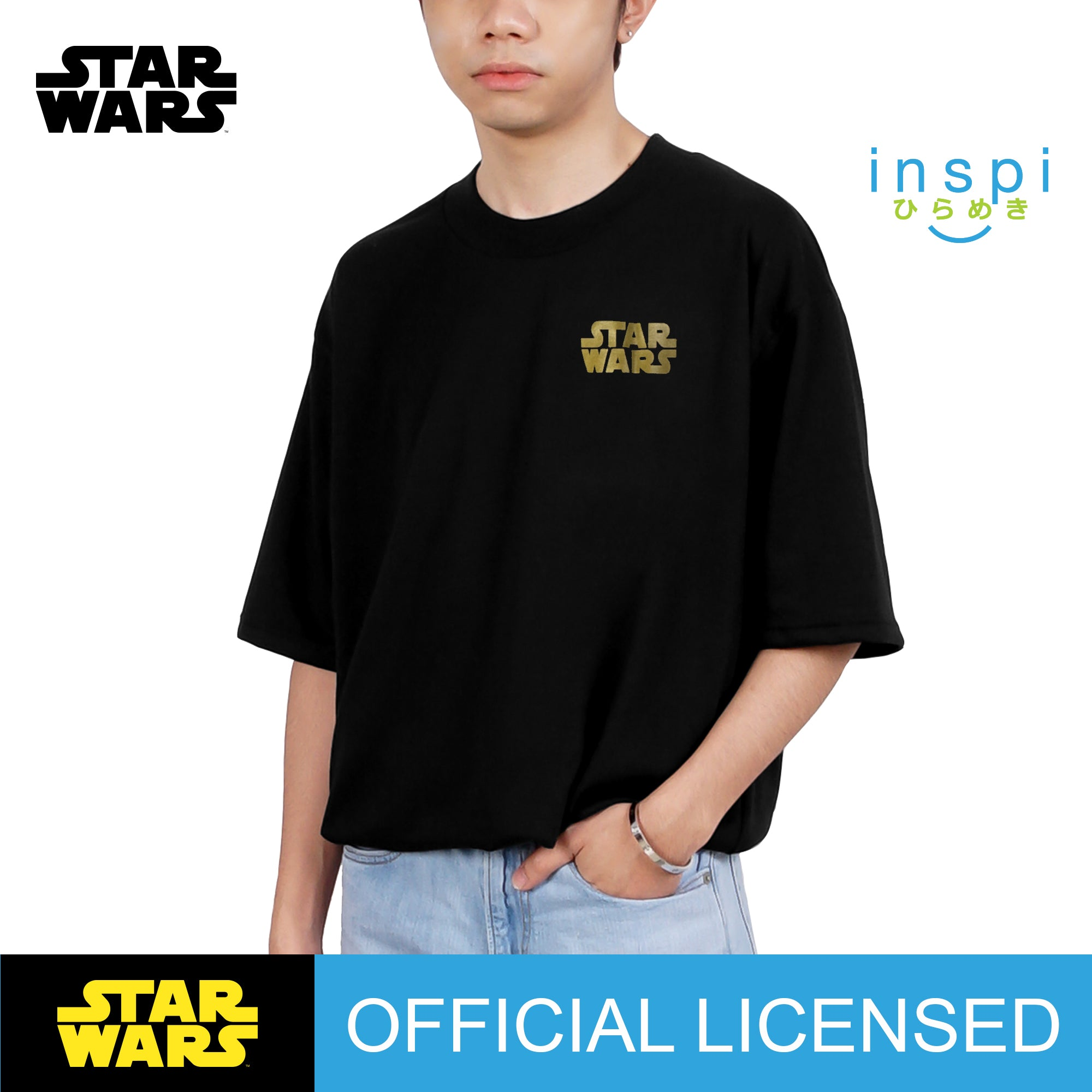 Star Wars Gold Graphic Korean Oversized Tshirt in Black Inspi Tee
