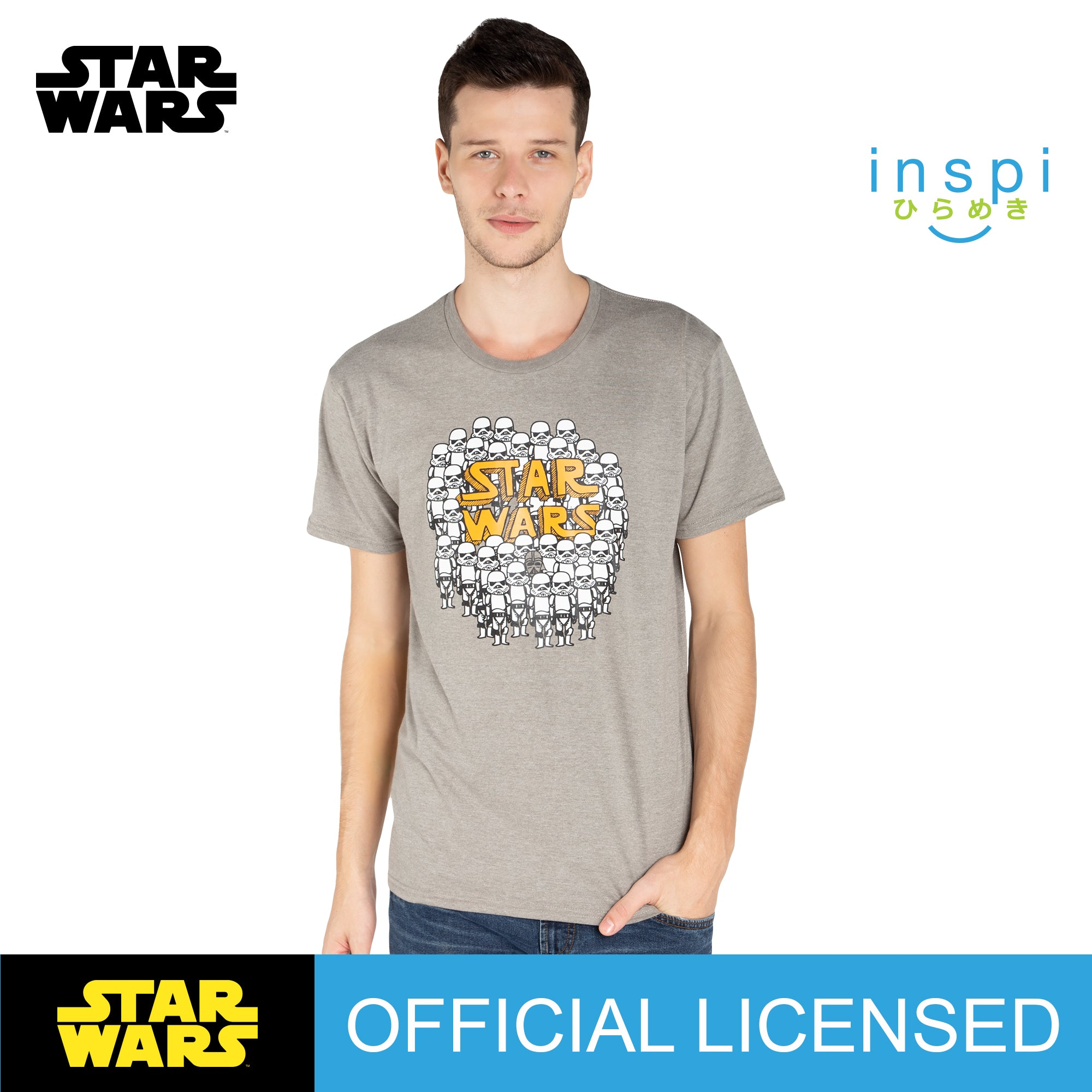 Star Wars Trooper Doodles Graphic Tshirt in Light Gray for Men for Women Inspi Shirt