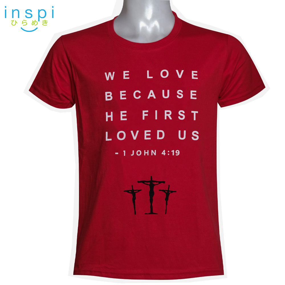 INSPI Shirt He First Loved Us Graphic Shirt in Red