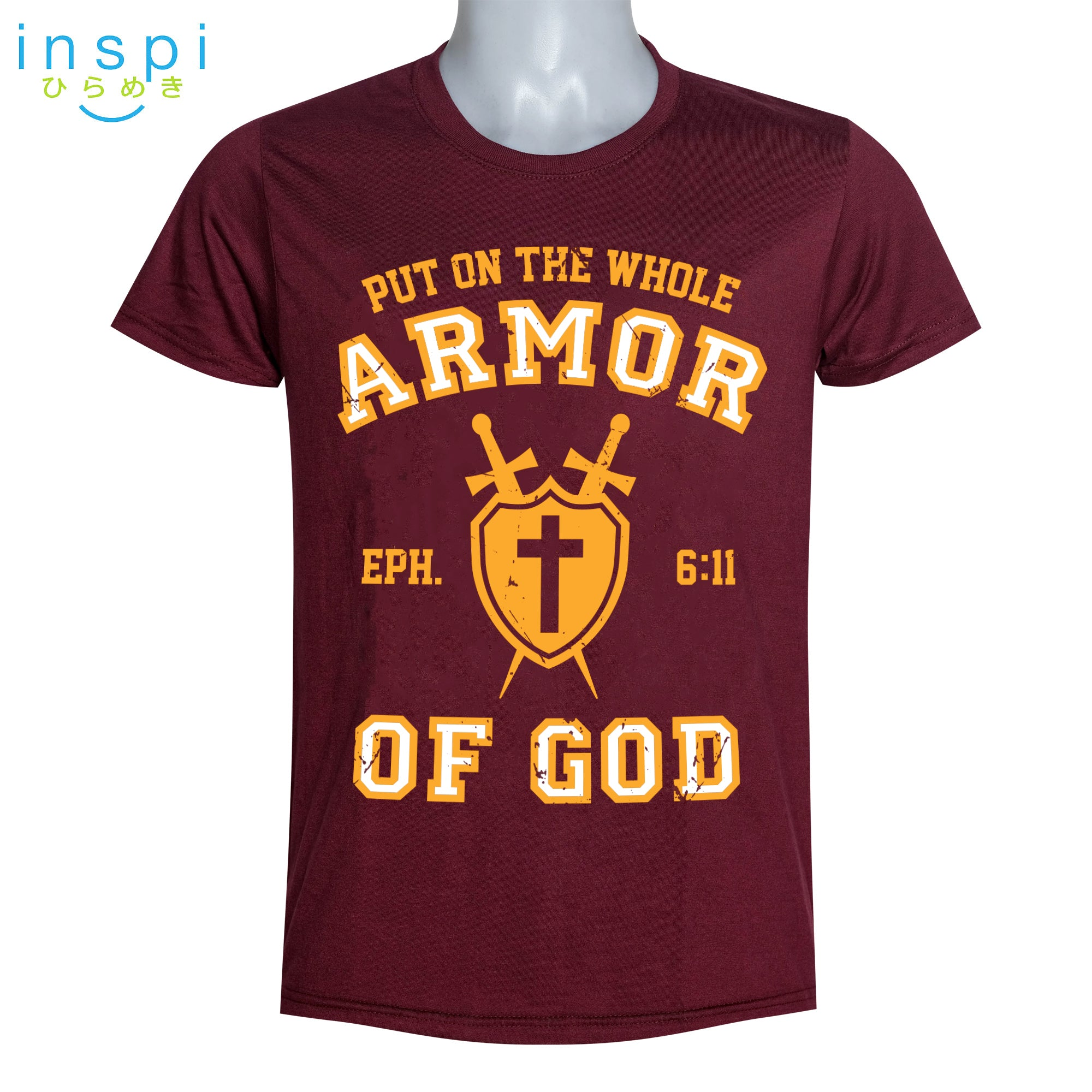 INSPI Shirt Armor of God Graphic Shirt in Maroon