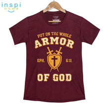 Load image into Gallery viewer, INSPI Shirt Armor of God Graphic Shirt in Maroon