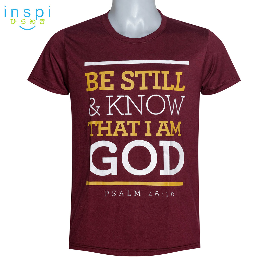 INSPI shirt Know that I am God Graphic Tshirt in Maroon
