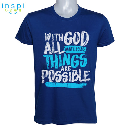 INSPI Shirt With God All Things are Possible Graphic Shirt in Blue