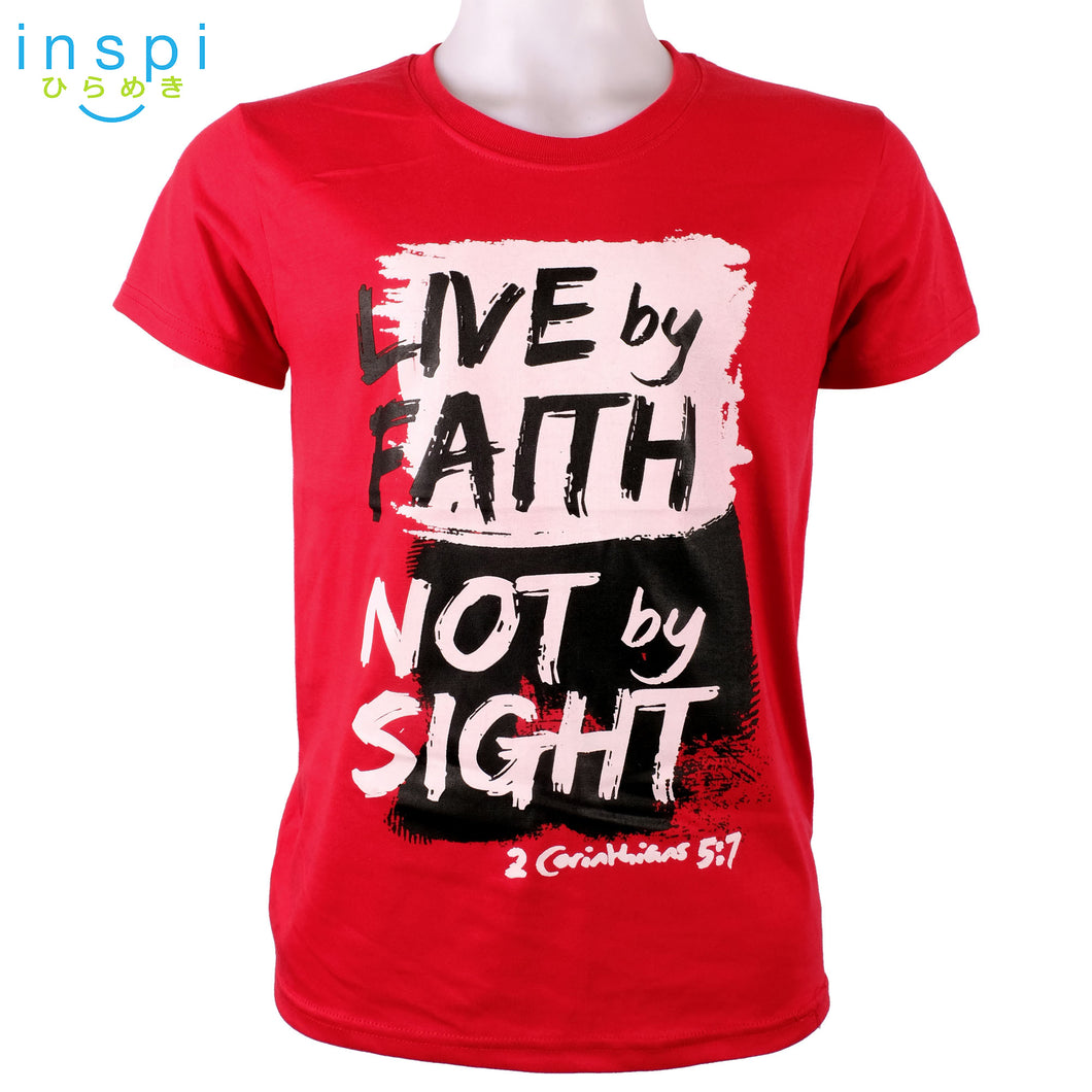 INSPI Shirt Live by Faith not by Sight Graphic Tshirt in Red