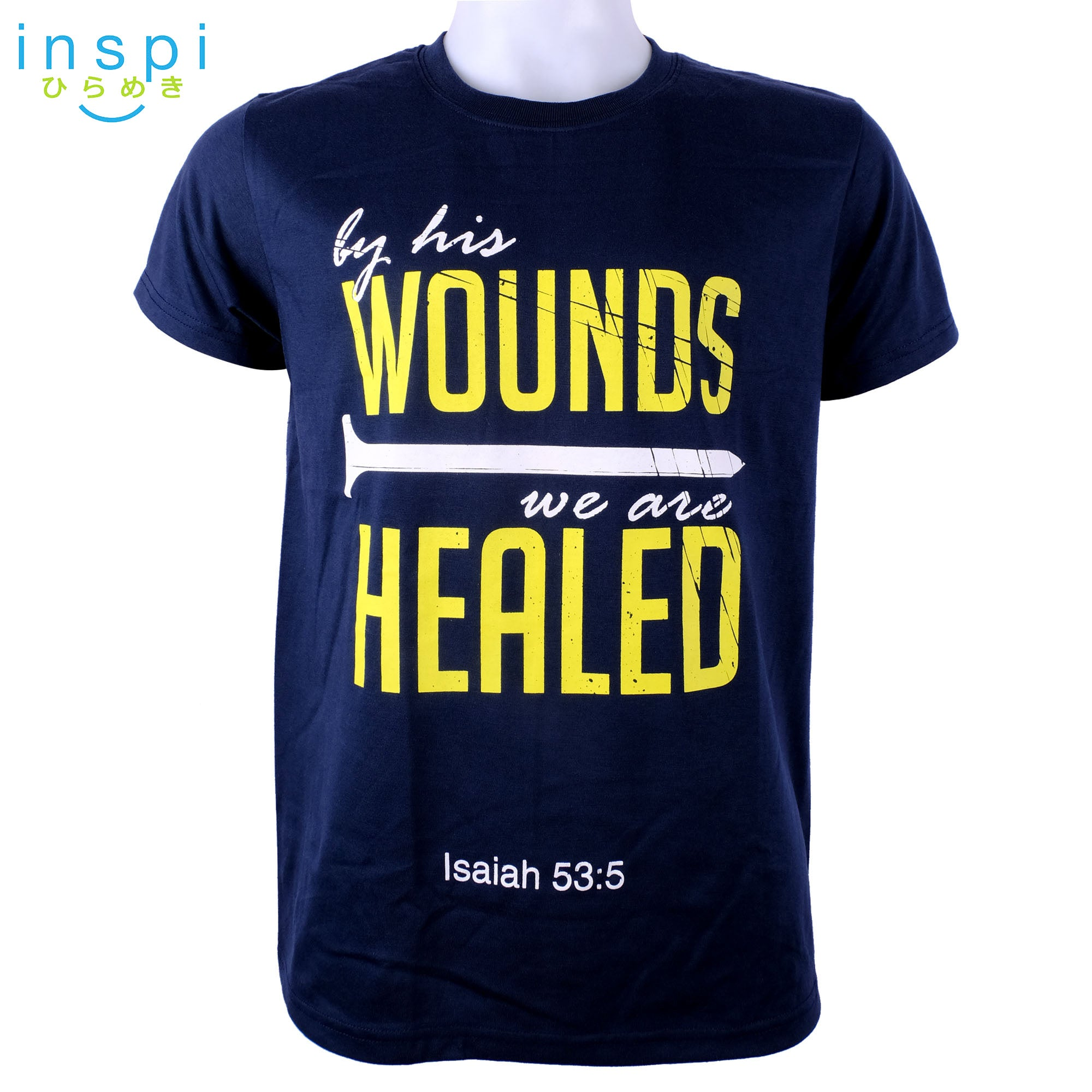 INSPI Shirt By his Wounds Graphic Tshirt in Navy Blue