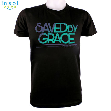 INSPI Shirt Saved by Grace Graphic Shirt in Black