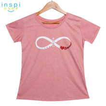 Load image into Gallery viewer, INSPI Tees Ladies Loose Fit Infinity Love Graphic Tshirt in Rose