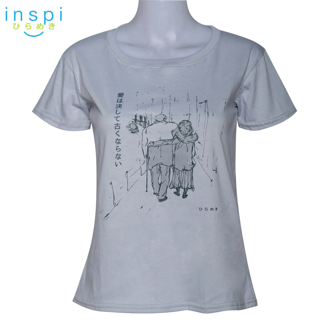 INSPI Tees Ladies Loose Fit Love Never Gets Old Graphic Tshirt in Light Gray