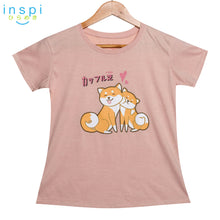 Load image into Gallery viewer, INSPI Tees Ladies Loose Fit Shiba Couple Graphic Tshirt in Light Caramel