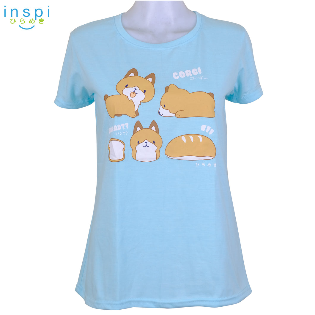 INSPI Tees Ladies Loose Fit Corgy Bread Graphic Tshirt in Light Blue