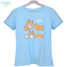 Load image into Gallery viewer, INSPI Tees Ladies Loose Fit Corgy Bread Graphic Tshirt in Light Blue