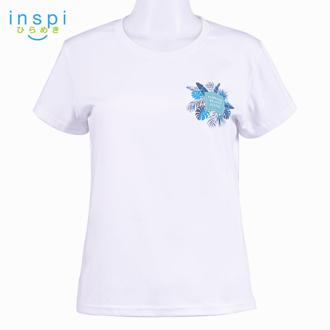 INSPI Tees Ladies Loose Fit Indoor Plant Gang Graphic Tshirt in White