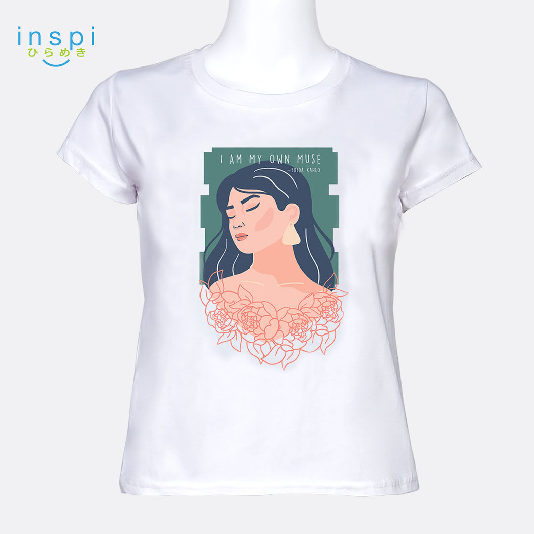 INSPI Tees Ladies Loose Fit I Am My Own Muse Graphic Tshirt in White