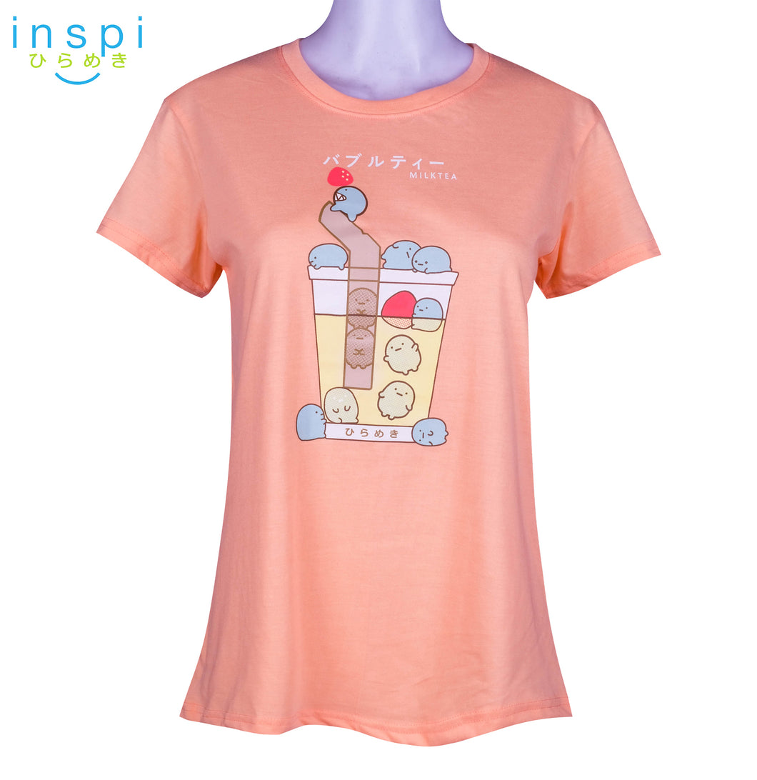 INSPI Tees Ladies Loose Fit Strawberry Milktea Graphic Tshirt in Sorbet