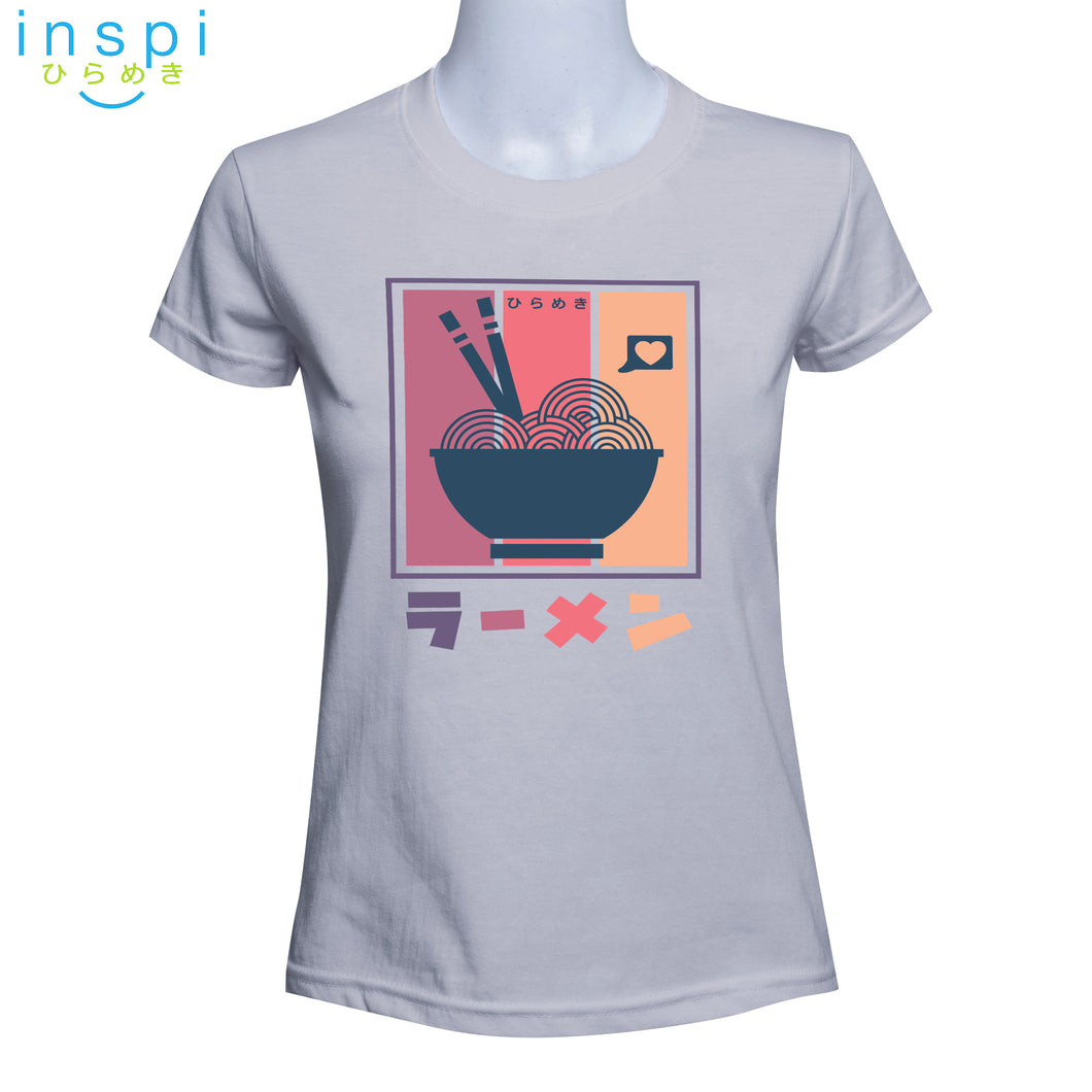 INSPI Tees Ladies Loose Fit Colorful Ramen Graphic Tshirt in Lambs Wool