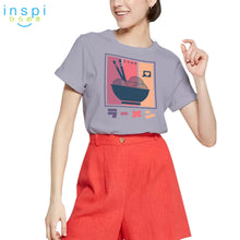 Load image into Gallery viewer, INSPI Tees Ladies Loose Fit Colorful Ramen Graphic Tshirt in Lambs Wool