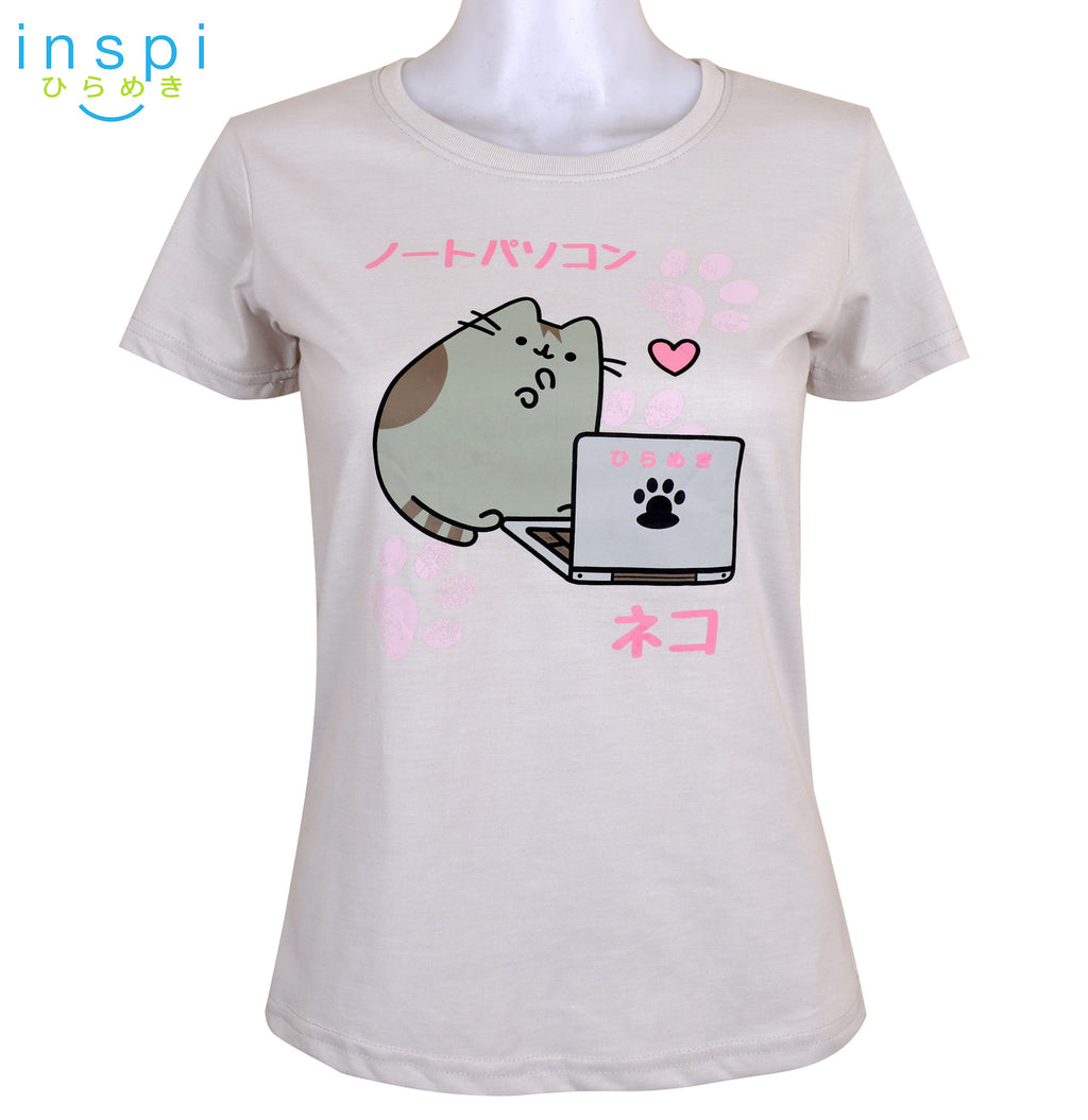 INSPI Tees Ladies Loose Fit Lapcat Graphic Tshirt in Off White