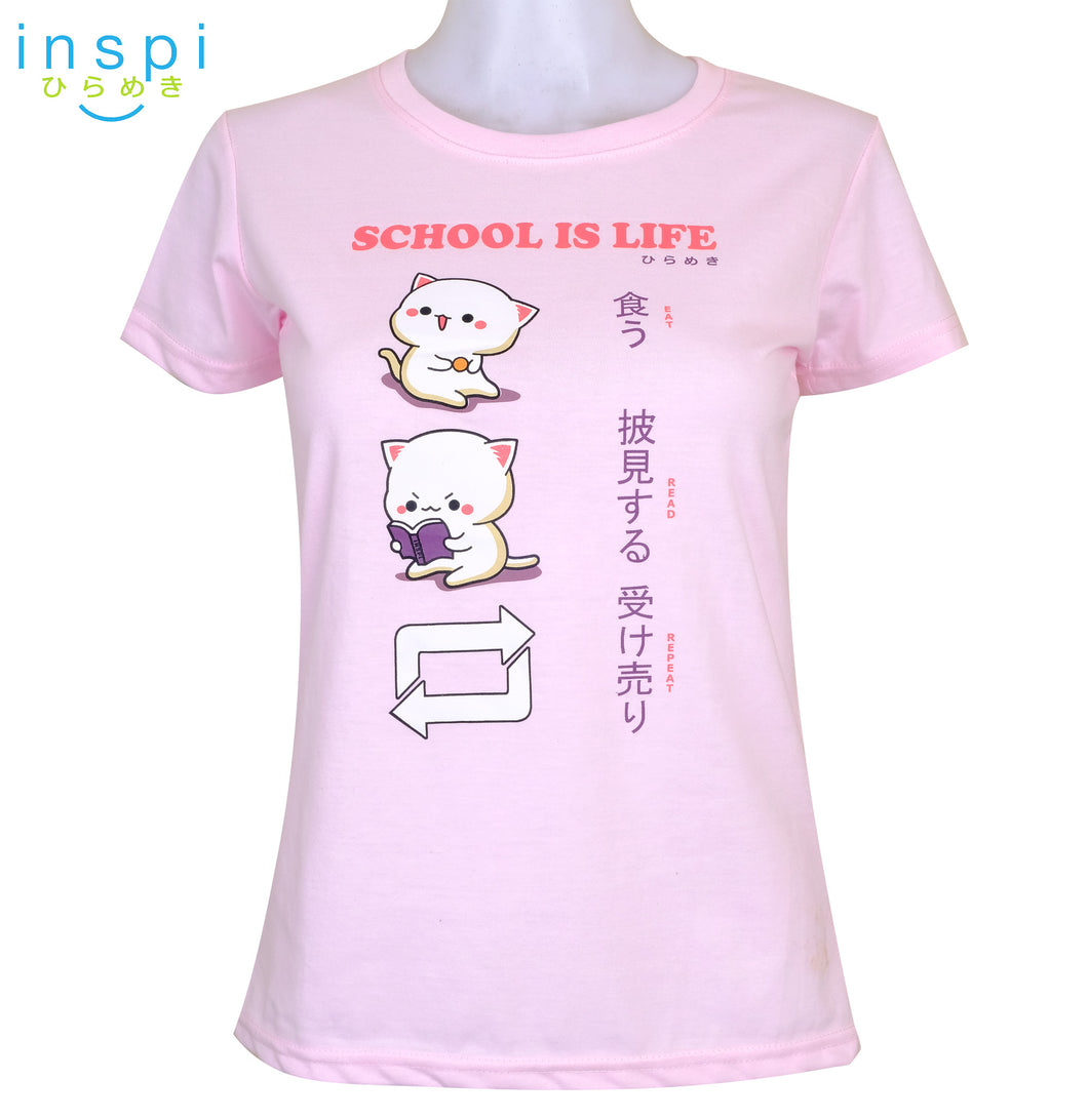 INSPI Tees Ladies Loose Fit School is Life Graphic Tshirt in Pink