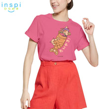 Load image into Gallery viewer, INSPI Tees Ladies Loose Fit Taiyaki Cat Graphic Tshirt in Parfait Pink