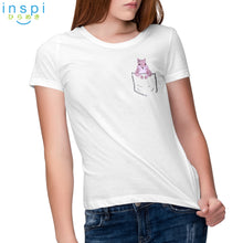 Load image into Gallery viewer, INSPI Tees Ladies Loose Fit Pocket Squirrel Tshirt in White