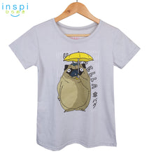 Load image into Gallery viewer, INSPI Tees Ladies Loose Umbrella Pug Graphic Tshirt in Creamy White
