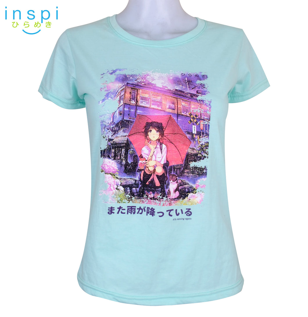 INSPI Tees Ladies Loose Fit Raining Again Graphic Tshirt in Mint