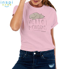 Load image into Gallery viewer, INSPI Tees Ladies Loose Fit Hello Monday Graphic Tshirt in Pink