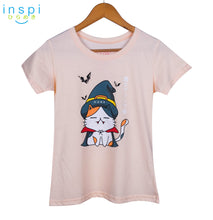 Load image into Gallery viewer, INSPI Tees Ladies Loose Fit Witch Vamp Cat Graphic Tshirt in Pastel Peach