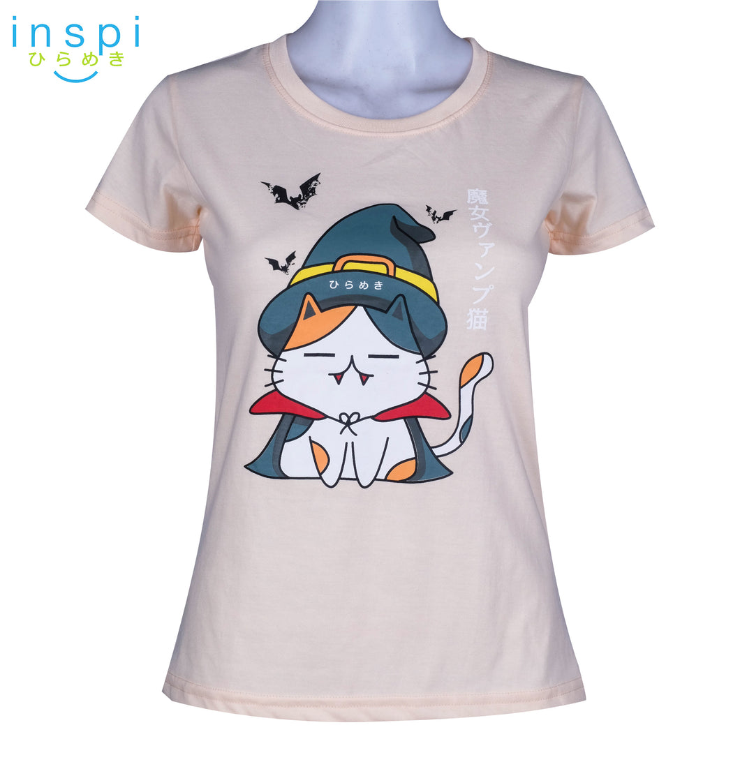 INSPI Tees Ladies Loose Fit Witch Vamp Cat Graphic Tshirt in Pastel Peach