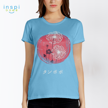 Load image into Gallery viewer, INSPI Tees Ladies Loose Fit Dandelion Graphic Tshirt in Blue Candle