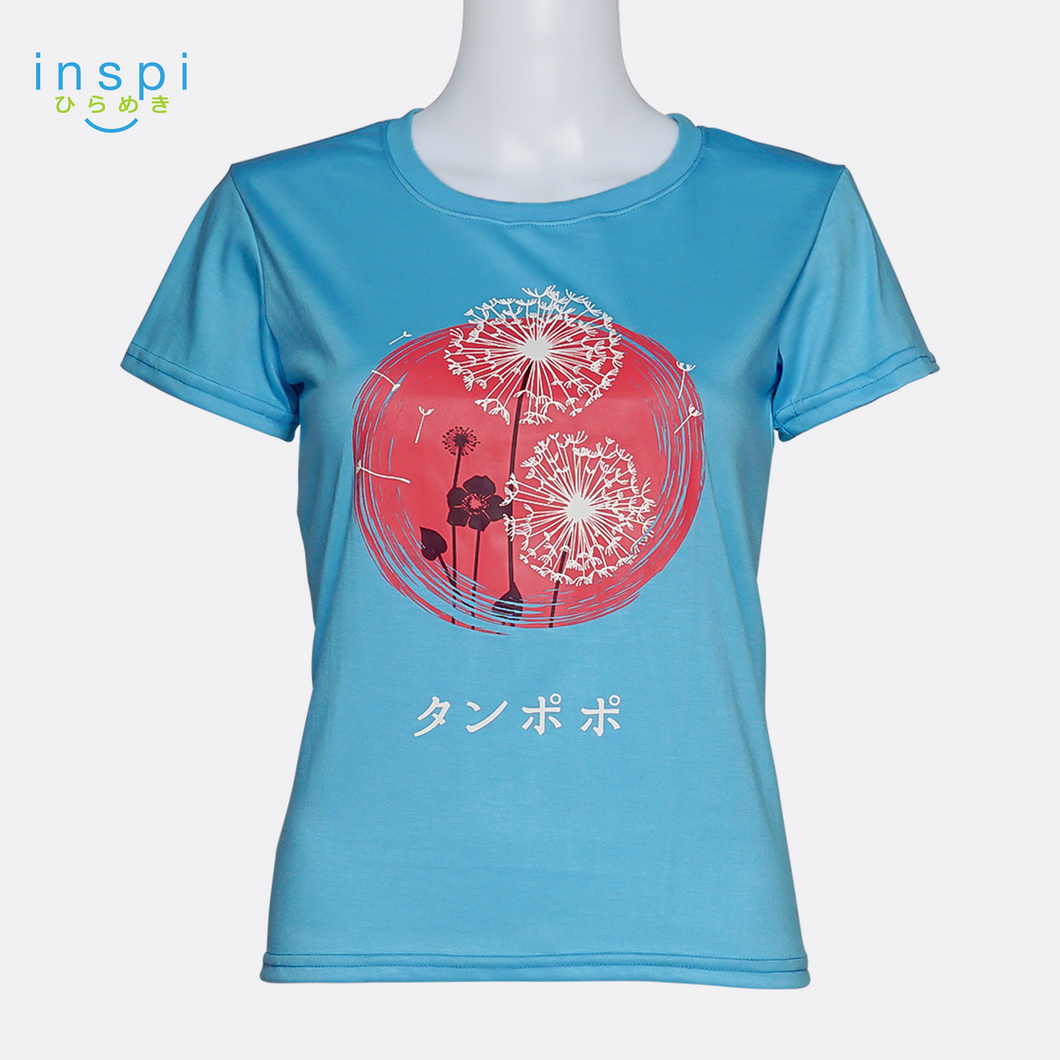 INSPI Tees Ladies Loose Fit Dandelion Graphic Tshirt in Blue Candle