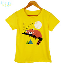 Load image into Gallery viewer, INSPI Tees Ladies Loose Fit Nap Red Panda Graphic Tshirt in Yellow