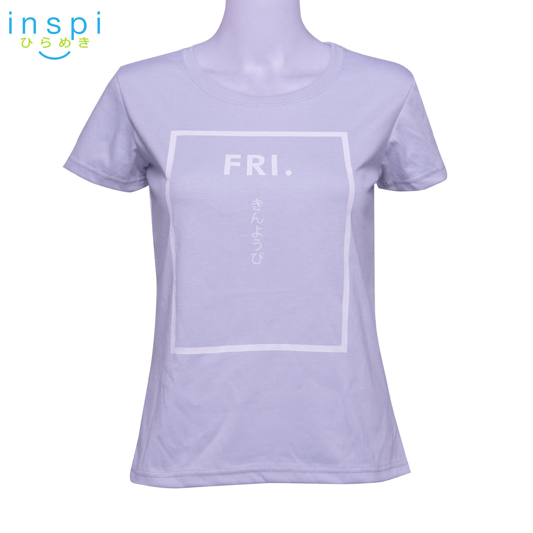 INSPI Tees Ladies Loose Fit Friday Graphic Tshirt in Grey