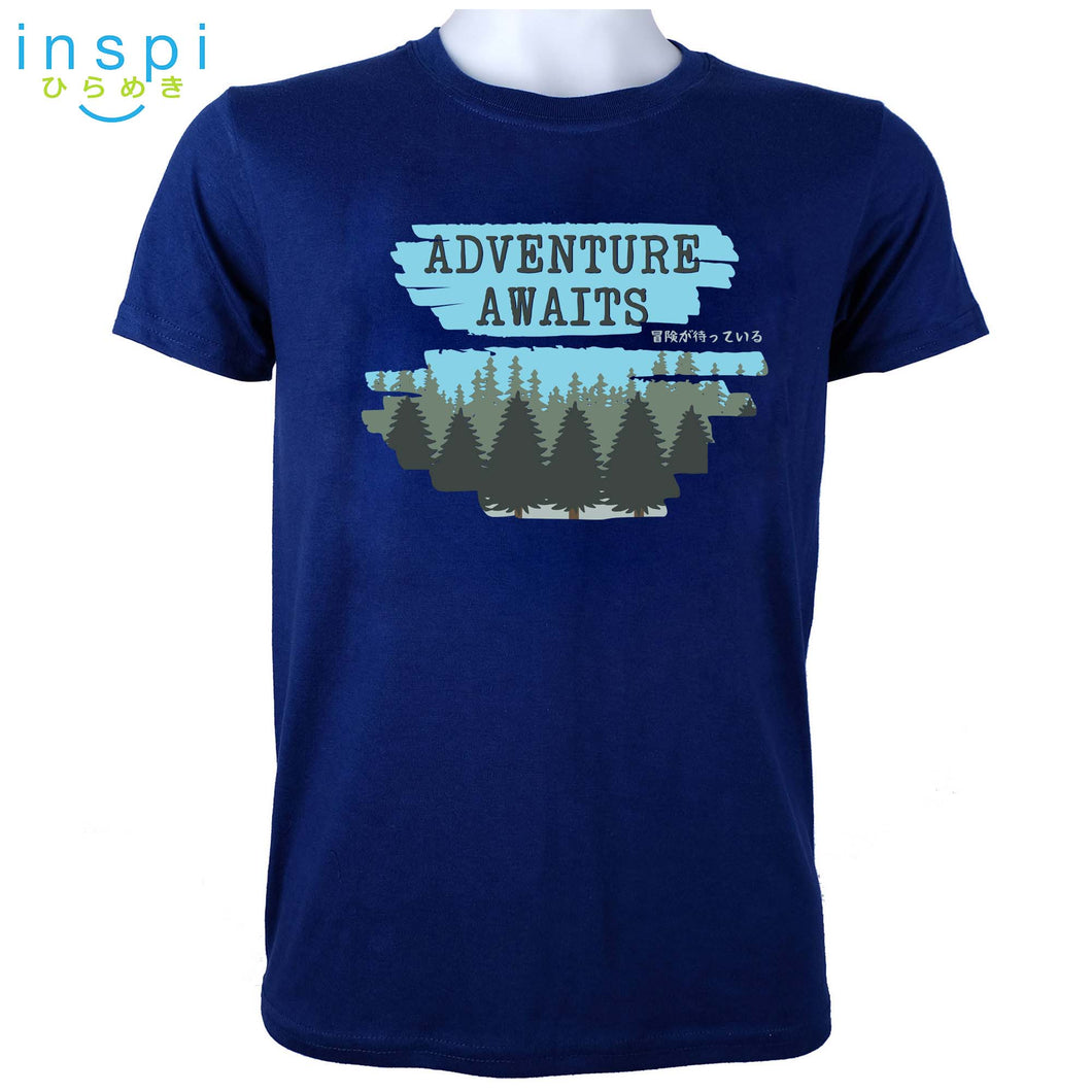 INSPI Tees Adventure Awaits Graphic Tshirt in Royal Blue