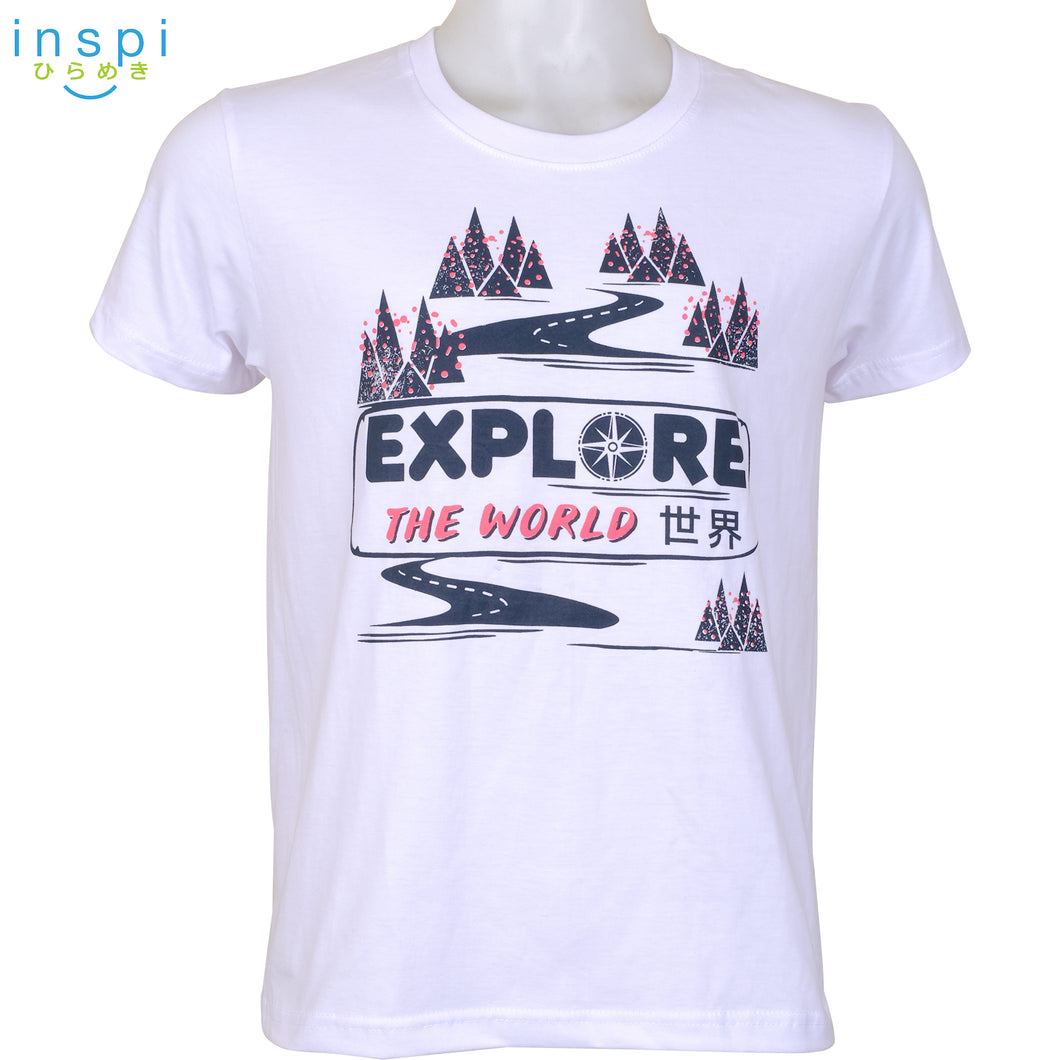 INSPI Tees Explore the World Graphic Tshirt in White