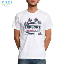 Load image into Gallery viewer, INSPI Tees Explore the World Graphic Tshirt in White