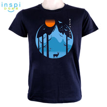 Load image into Gallery viewer, INSPI Tees Nature Evening Graphic Tshirt in Navy Blue