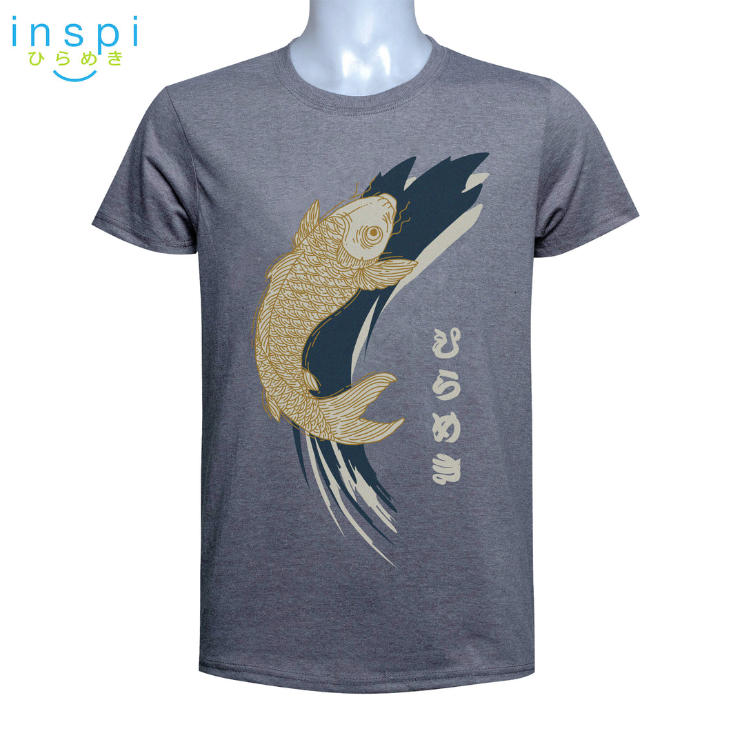 INSPI Tees Koi Graphic Tshirt in Gray