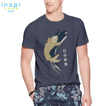 Load image into Gallery viewer, INSPI Tees Koi Graphic Tshirt in Gray