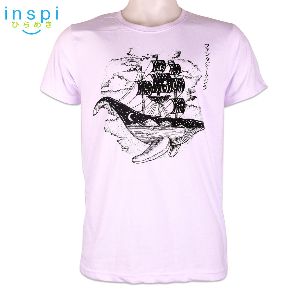 INSPI Tees Flying Whale Boat Graphic Tshirt in White