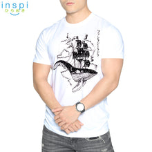 Load image into Gallery viewer, INSPI Tees Flying Whale Boat Graphic Tshirt in White