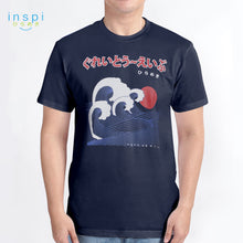 Load image into Gallery viewer, INSPI Tees Great Waves Graphic Tshirt in Navy Blue