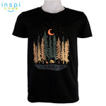 INSPI Tees Camping Forest Graphic Tshirt in Black