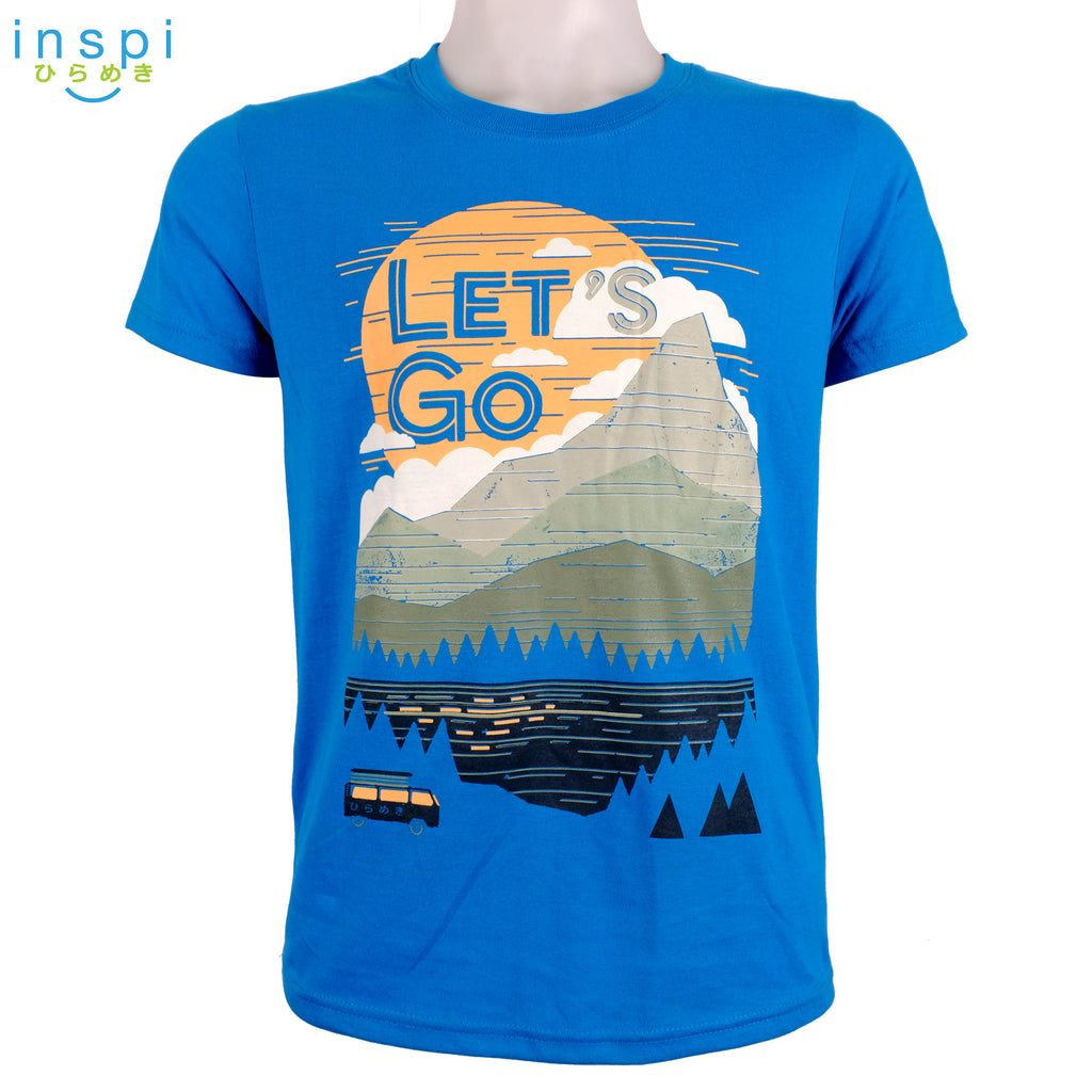 INSPI Tees Lets Go Graphic Tshirt in Blue