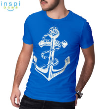 Load image into Gallery viewer, INSPI Tees Anchor Graphic Tshirt in Aqua Blue