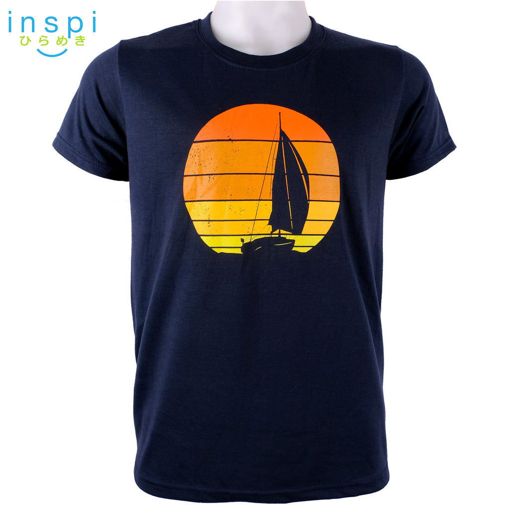 INSPI Tees Sunset Sail Graphic Tshirt in Navy Blue