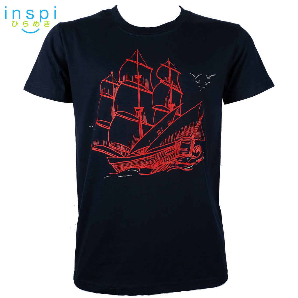 INSPI Tees Red Boat Graphic Tshirt in Navy Blue