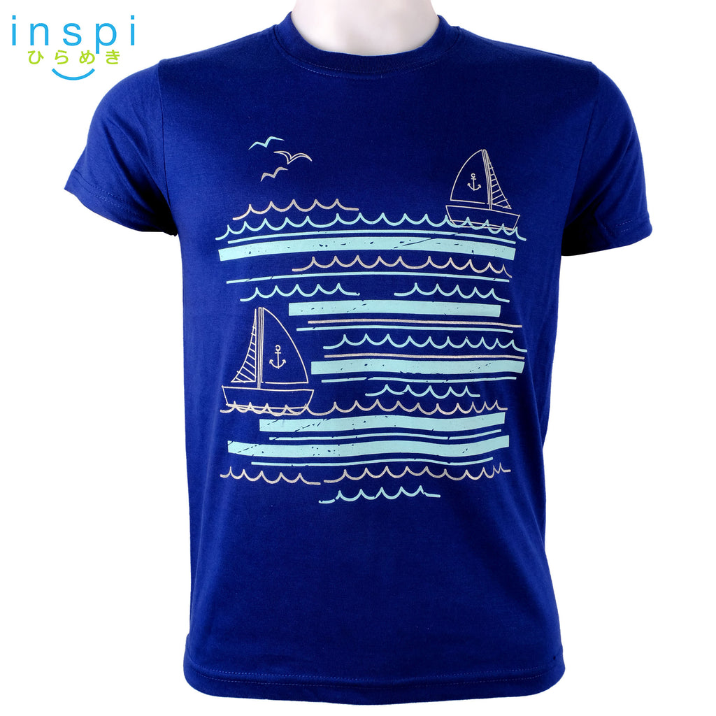 INSPI Tees Boat Graphic Tshirt in Blue